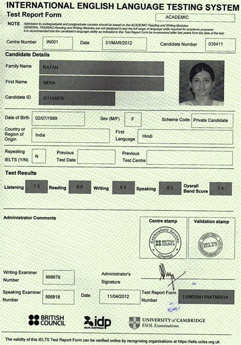 Notre Dame Mba Ielts Requirement by S Career Neha Ielts Score Card 7 5 Bands Best