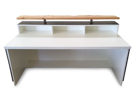 Reception Desk Riser Buy A Crafted 2 Gloss White Reception Desk Or Sales Counter With Distressed Wood And Live