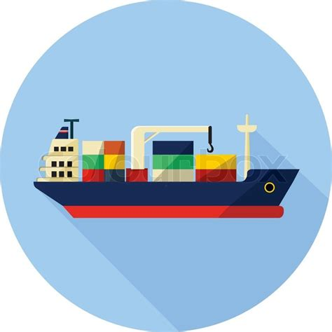 ship icon tanker cargo ship with containers long shadow stock