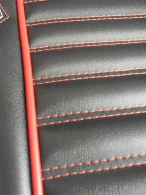 Tuck And Roll Upholstery Material Rod Seat Redo In Black And Red Vinyl Lux