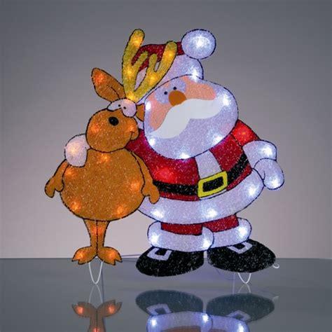 Weihnachtsdekoration Aussen Beleuchtet by Led Weihnachtsmann Mit Rentier Beleuchtet Weihnachtsdeko
