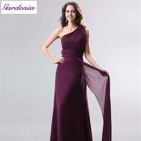 charming a line one shoulder flowing chiffon royal purple bridesmaid dresses with