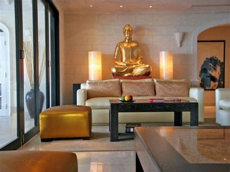 elegant zen living room with gold buddha statue decor