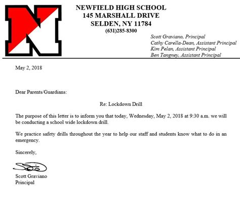 Sle Lockdown Drill Letter To Parents