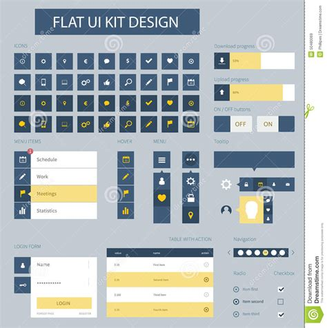 flat ui design templates flat ui kit design elements for website template stock