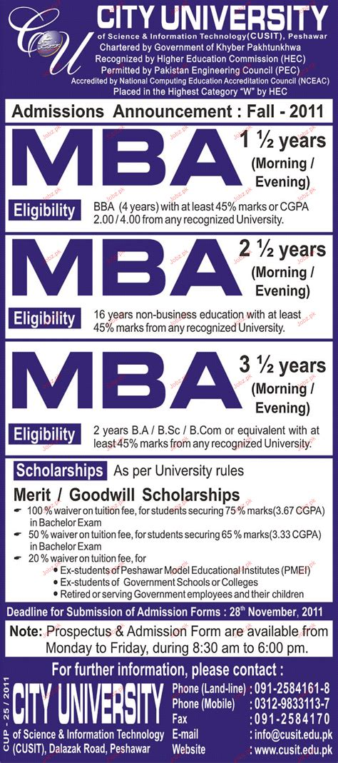 Mba Marketing In Pakistan by Admission Open In City 2018 Admissions