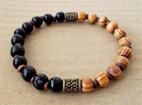 mens wood bead bracelet s burly wood and black wooden beaded stretch bracelet