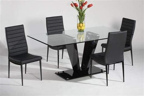 refined glass top leather italian modern table with chairs - Modern Dining Table And Chairs