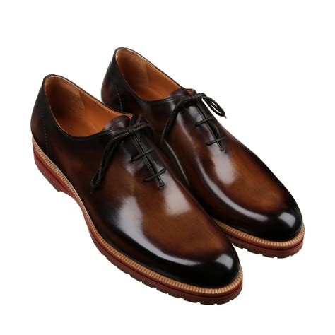 images of shoes for berluti alessio polished leather oxford shoes in brown for