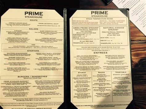 prime steak house menu picture of prime steakhouse redmond tripadvisor