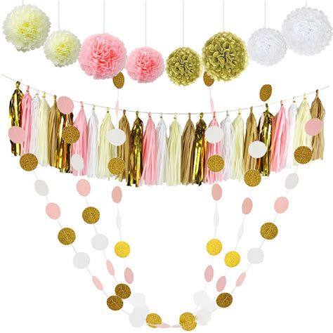 Supplier Tassel Polka By Mustika 30 pcs tissue paper pom poms flowers tissue tassel garland polka dot paper garland kit for