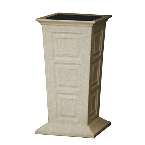 Column Planters by Ideas 16 In Square Sandstone Poly Resin