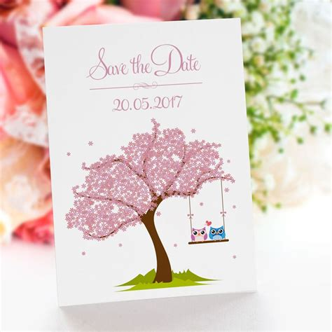 Save The Date Hochzeit by Save The Date Karte Hochzeit Verliebte Eulen