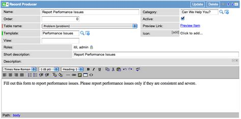 creating a record producer to log a problem servicenow wiki