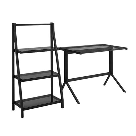 walker edison glass desk walker edison black glass desk and shelf combo smoke black