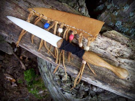 Handmade Mountain Knives - handmade to order bone knife and buckskin leather sheath