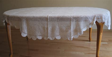 Oval Table Cloth by 72 Inch X 108 Inch Oval Crochet Lace Table Cloth