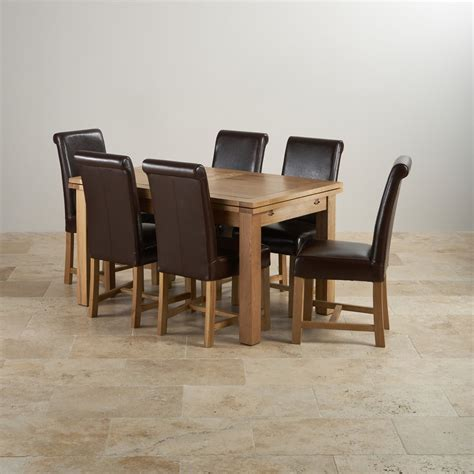 canterbury dining table and 6 chairs oak furniture dorset extending dining set in oak table 6 leather chairs