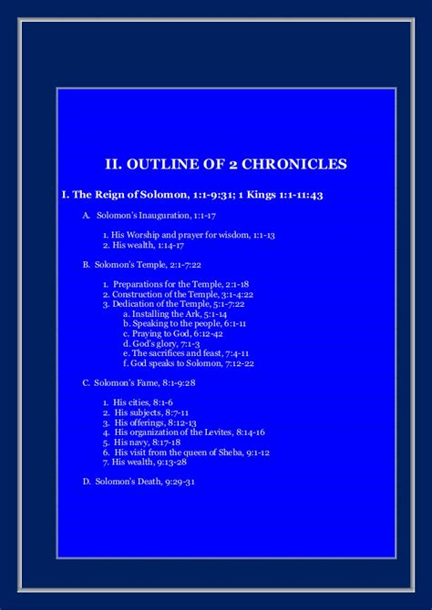 Outline 2 Chronicles 20 by The Second Book Of The Chronicles