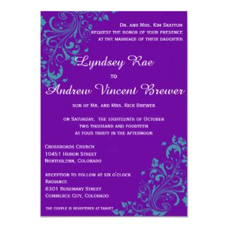 purple and turquoise wedding invitations announcements zazzle co uk