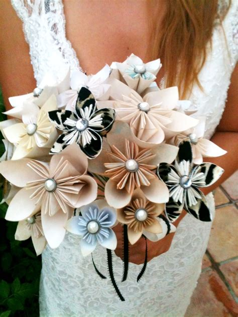 Origami Bridal Bouquet - origami paper flower tea dyed bouquet made to order