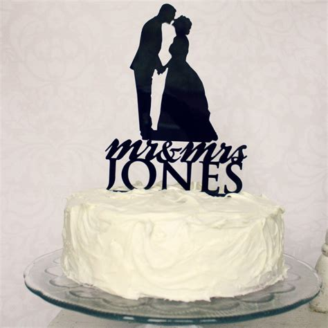 custom silhouette wedding cake topper personalized with your