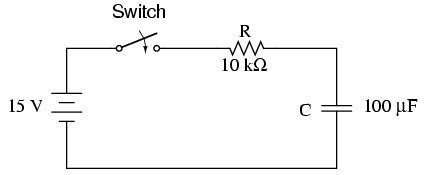 voltage across capacitor series resistor voltage and current calculations rc and l r time constants electronics textbook