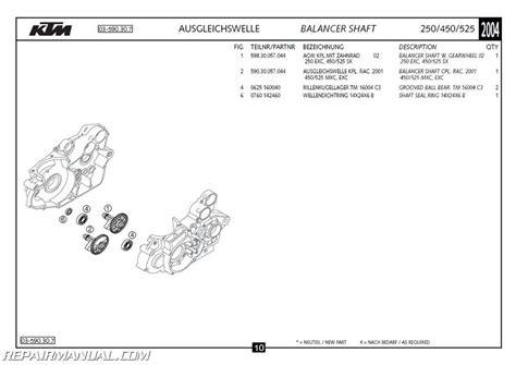 Ktm 525 Exc Parts 2004 Ktm 250 450 525 Exc Sx Mxc Engine Spare Parts Manual