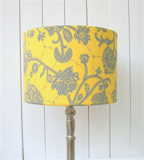 Yellow Floor L Shade Yellow And Grey Fabric Lshade Drum Table Floor Or Ceiling Pendant Lshade Made In