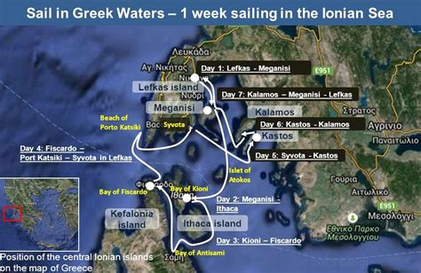 yacht chartering in the ionian sea suggested route sail - Sailing Greece Ionian Islands