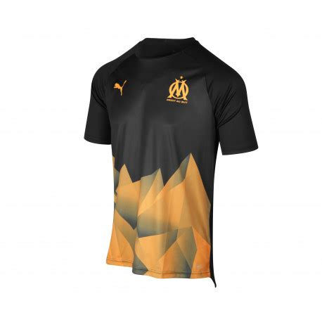 maillot entrainement junior om stadium noir orange