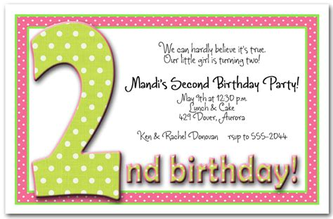 2nd birthday invitation card template 2nd birthday invitation wording ideas bagvania free