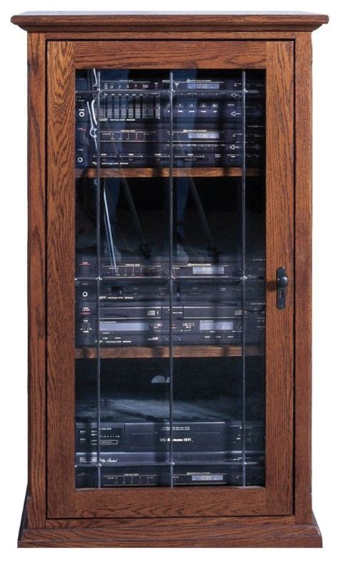 forest designs audio tower  glass door  mission oak