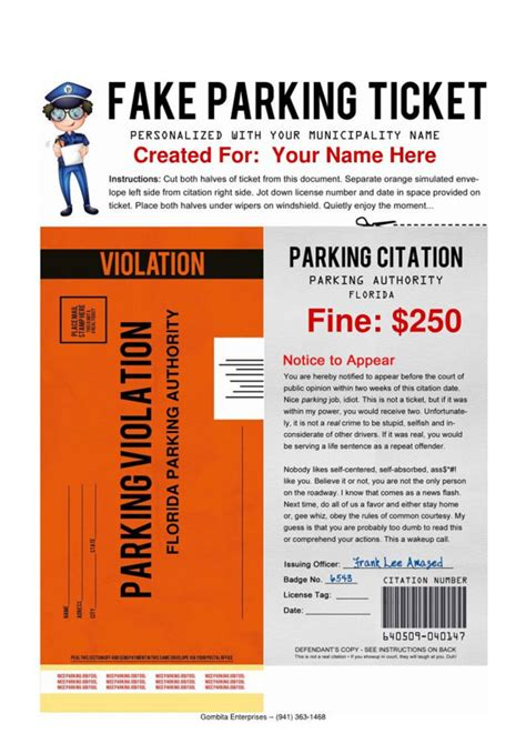 printable tickets pdf pdf fake parking ticket what a great way by gombitaenterprises