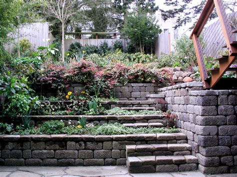 tiered backyard landscaping ideas tiered retaining wall contemporary landscape san