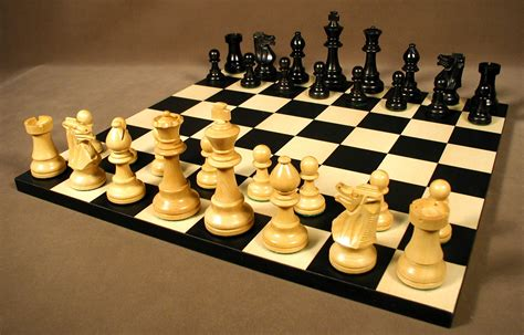 small black french chess set wood