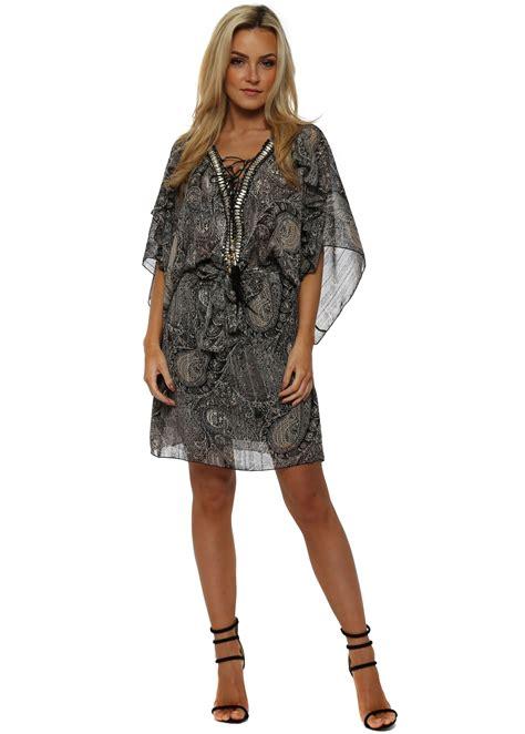 Who Wore It Better Couture Chiffon Ruffle Dress by My Story Grey Paisley Chiffon Mini Dress