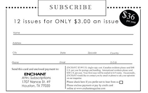 magazine subscription form template magazine subscription card