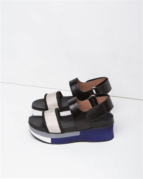 marni sandals marni color blocked leather sandals in black lyst