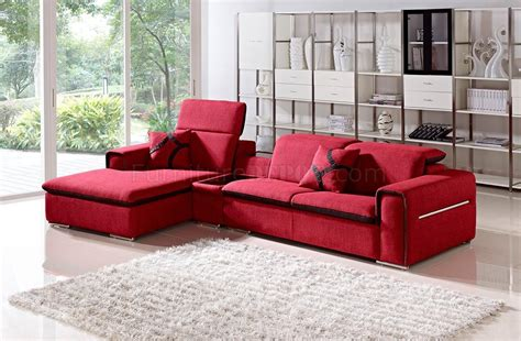 red fabric sectional 1201 harding sectional sofa in red fabric by vig
