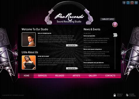 pro records sound recording studio html5 template on behance