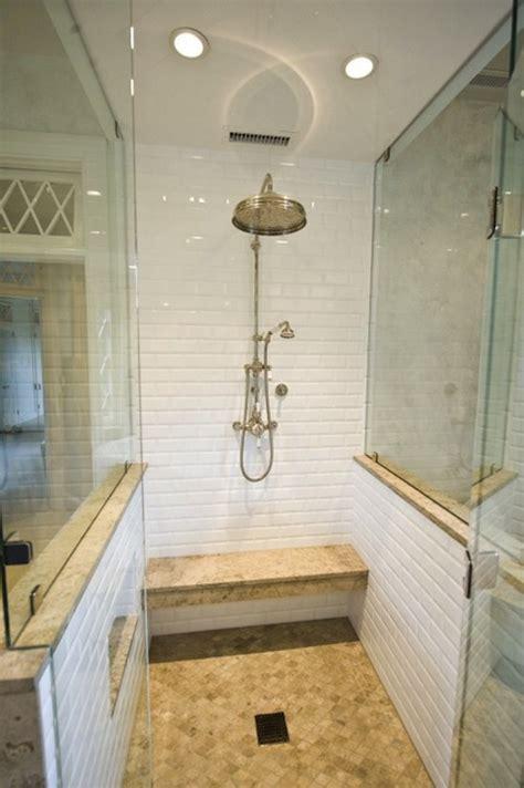 beveled subway tile shower pine carpenters bathrooms seamless glass shower