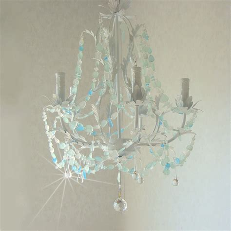 Sea Glass Chandeliers Sea Glass Chandelier Lighting Cottage Chic Coastal Decor