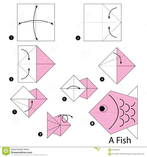 How To Make A Paper Fish - step by step how to make origami a fish