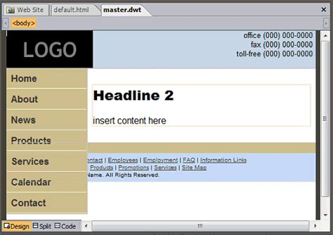 asp net menu templates customizing a website template with expression web