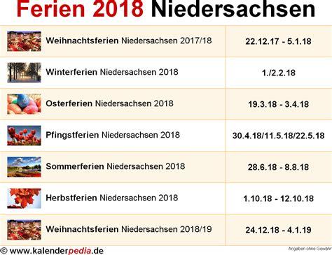 Ferienkalender Niedersachsen 2018 Ferien Niedersachsen 2018 220 Bersicht Der Ferientermine