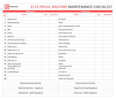 Maintenance Checklist Template 10 Daily Weekly Maintenance Checklist Electrical Maintenance Checklist Template