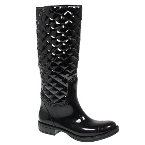 Womens Quilted Wellies by Womens Knee High Quilted Wellington Wellies Snow Winter Boots Size Ebay