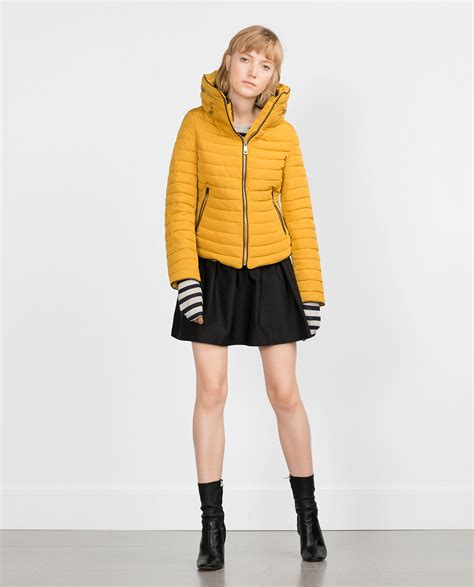 Quilted Fur Coat by Zara Quilted Coat With Faux Fur Collar In Yellow Lyst