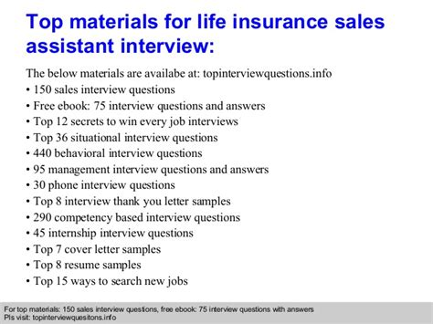 insurance sales assistant questions and answers